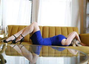 New photos blog - blue dress on couch