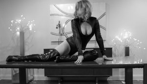 Megan Love, black and white photo laying on a table