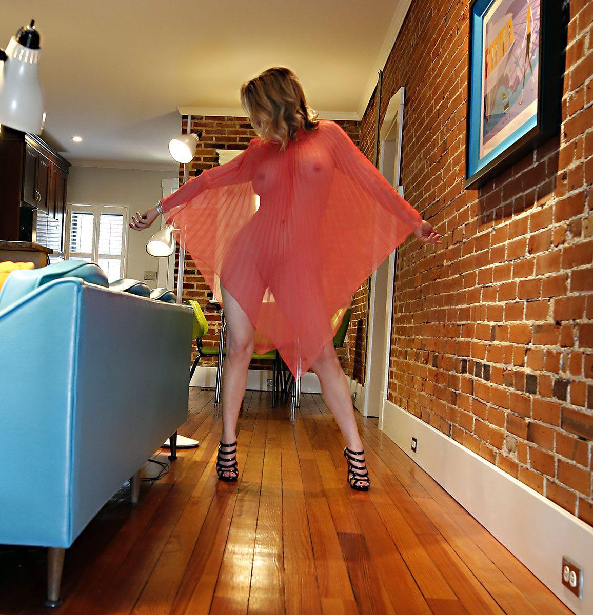 Megan Love in red sheer