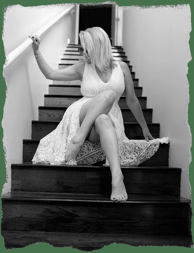 Megan Love, wearing white skirt